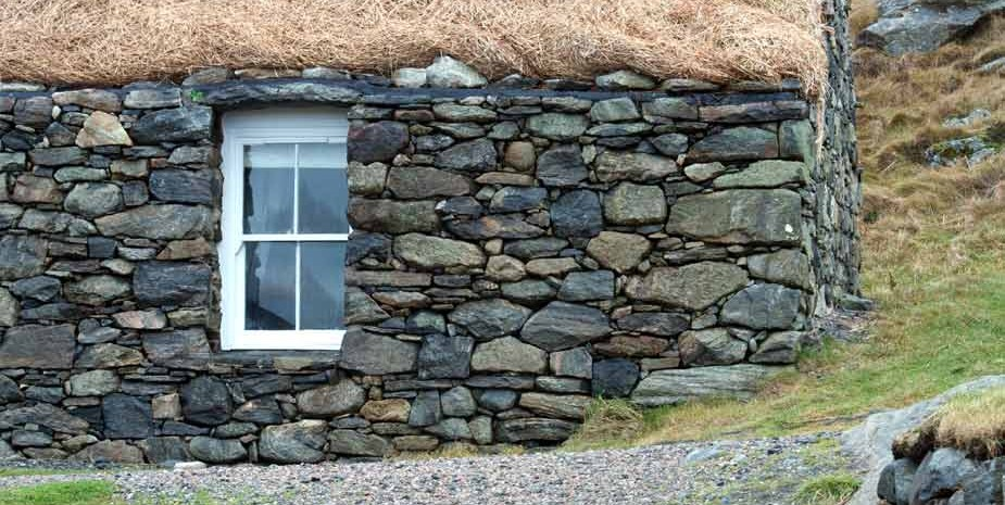 Restored traditional blackhouse at Garenin on the Isle of Lewis, Scotland