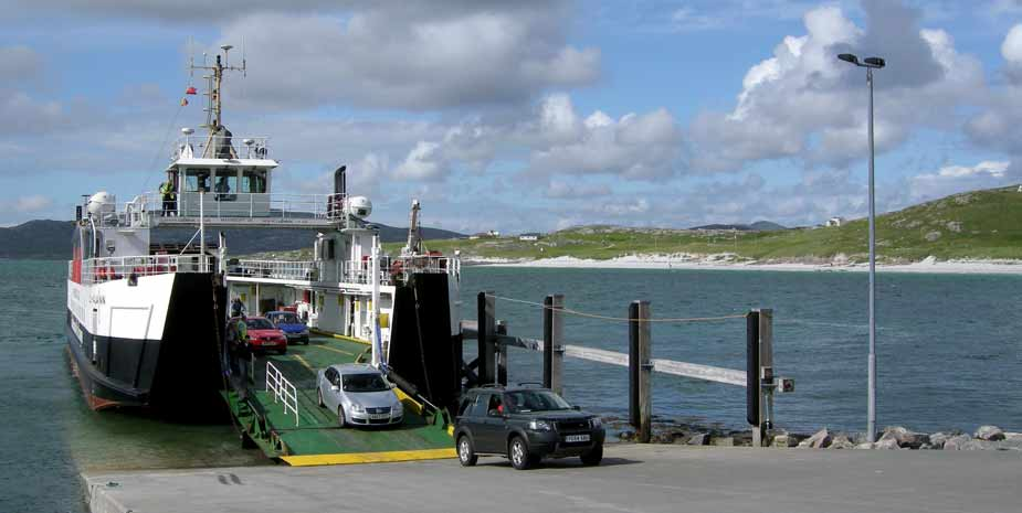 Calmac ferry carries Hebridean Hopscotch Holidays clients between Barra and Eriskay