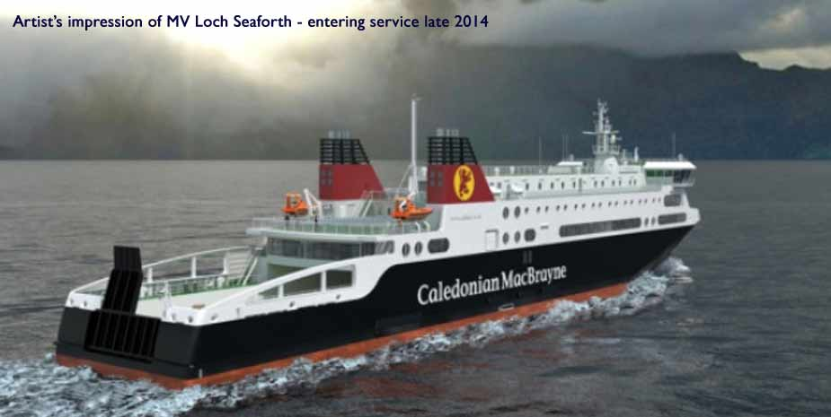 New Calmac roll on roll off  vehicle passenger ferry sailing to the Hebrides from 2014